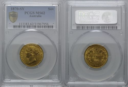 Australia, Sovereign 1870 MS-62