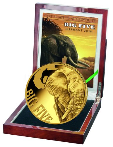 Cameroon, 5 oz Gold, Big Five Elephant 2018