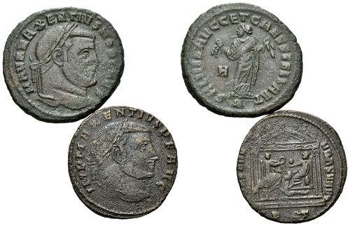 Maxentius, Lot AE Folles, 2 pcs.
